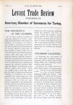 The first page of The Levant Trade Review, volume 1, number 1, June 1911.