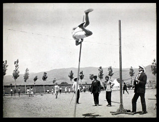 Pole vaulting at Anatolia College, Merzifon, c. 1900. ABCFM missionaries believed that exercise balanced study, and sports were an important extracurricular activity at their schools throughout the region.